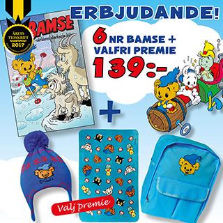 6 nummer av Bamse + valfri premie 139 kr